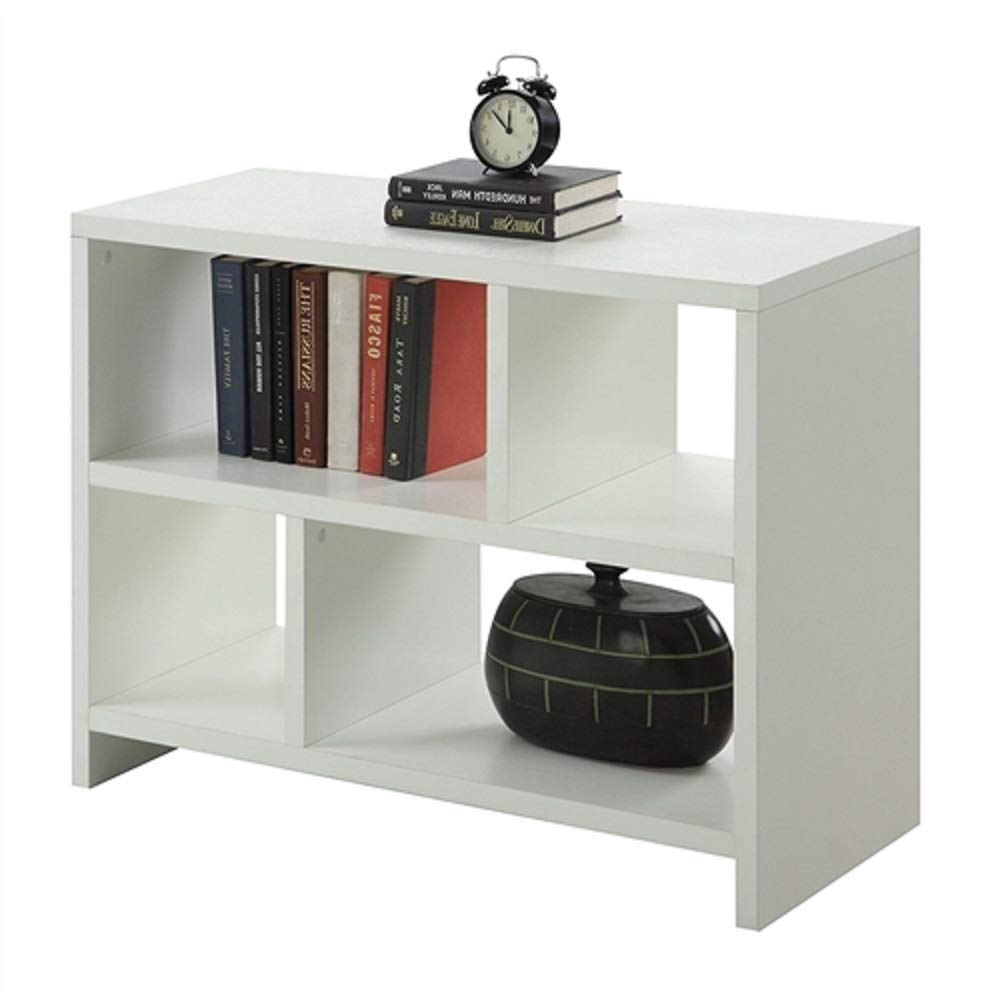 MyEasyShopping White 2-Shelf Modern Bookcase Console Table Storage Bookshelf Wood Shelves