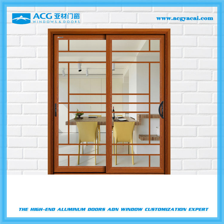 Elegant wood color heavy sliding swing door and windows