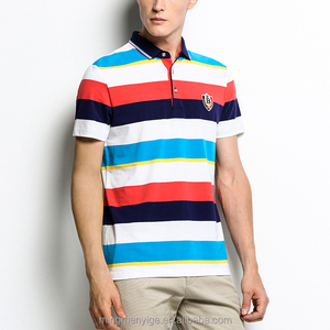 Fancy Color Combination striped Design Anti-pilling ventilated Polo T Shirt