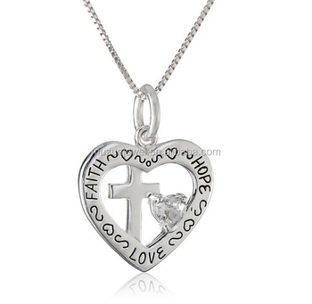 Heart with cross and clear heart cubic zirconia 925 sterling silver heart with cross and clear heart cubic zirconia 925 sterling silver faith hope love pendant necklace aloadofball Image collections