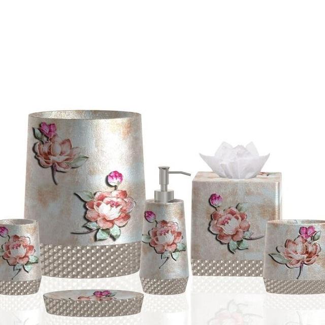 Flower Design 6pcs Resin Bathroom Sets Resin Bath Set