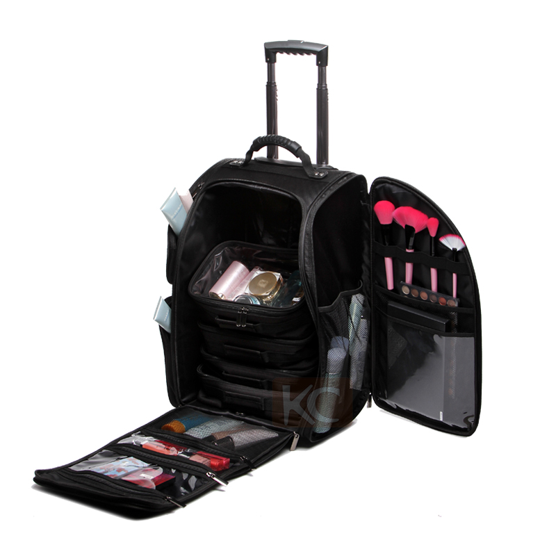 Black 1680d Nylon Rolling Trolley Professional Travel ...