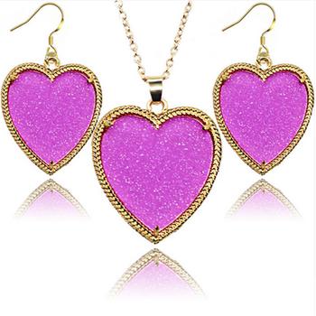 Whole Las Fashion Acrylic Heart Shaped Fluorescent Earrings Necklace Set