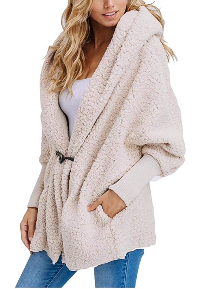 9ba34b2542 Get Quotations · Haloumoning Womens Oversized Coat Sherpa Open Front Hoodie  Batwing Sleeve Pockets Cardigan Jackets