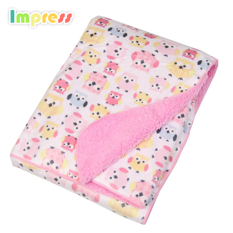 "Cheap wholesale baby blanket fleece animal printed soft touch coral fleece embroidered infant blanket baby 30""x 40"""