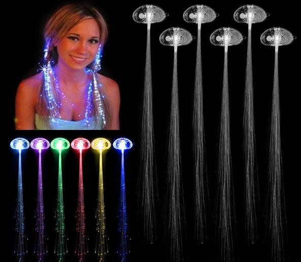 Flash Hair Clip LED Colorful Luminous Braid Optical Fiber Wire Hairpin Show Party Decoration