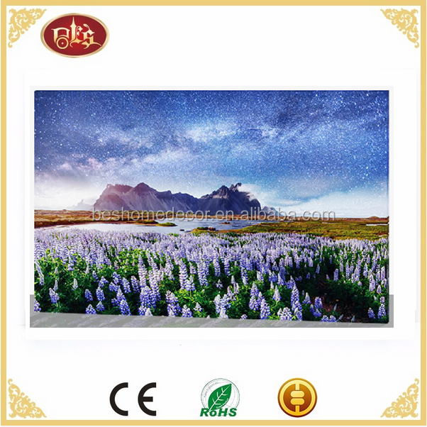 spring landscape LED canvas art paintings printed canvas painting with led light