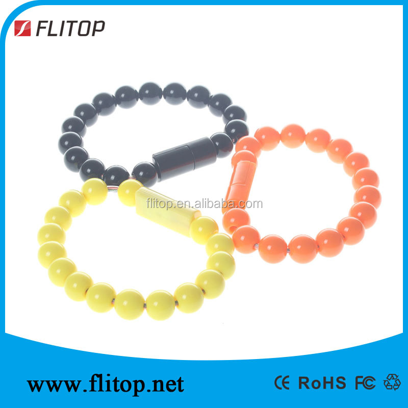 wearable men bracelet usb cable with string beads