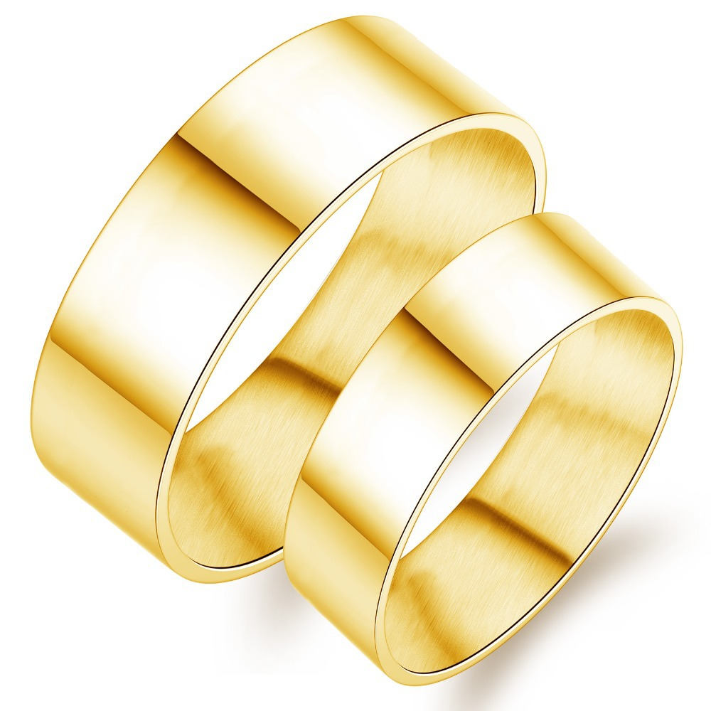 a7be68f57d Get Quotations · 2015 Fashion Stainless Steel Couple Rings Set For Lovers  Luxury 18k Gold Men Women Wedding Engagement