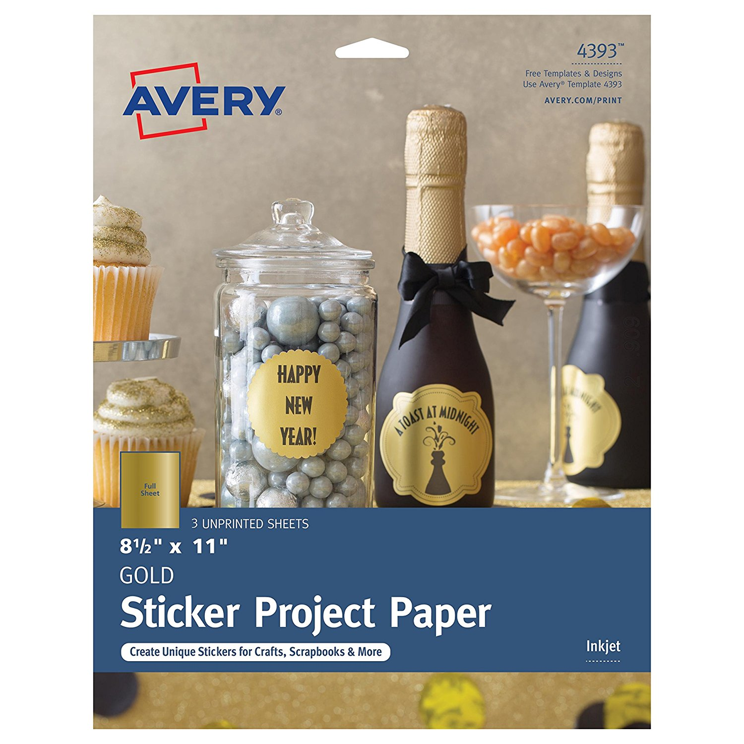 """Avery Gold Full-Sheet Sticker Project Paper, 8-1/2"""" x 11"""", 3 Sheets (4393)"""