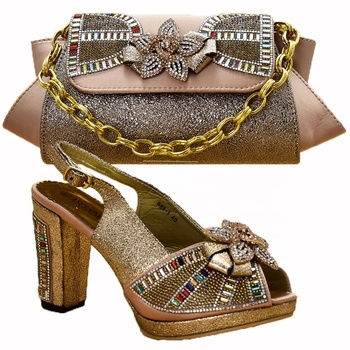 high quality party genuine leather gold italian shoes and bag sets to match