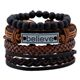 2019 New Arrival Punk Style Black Stone Beaded Wipe Braided Leather Custom Engraved Believe Faith Bracelets