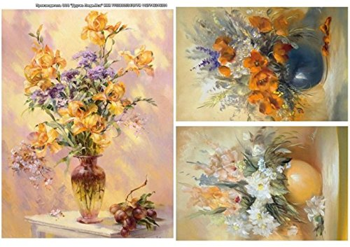 8,27x11,4 inches Made in Russia Flowers Rice Paper for decoupage Kids