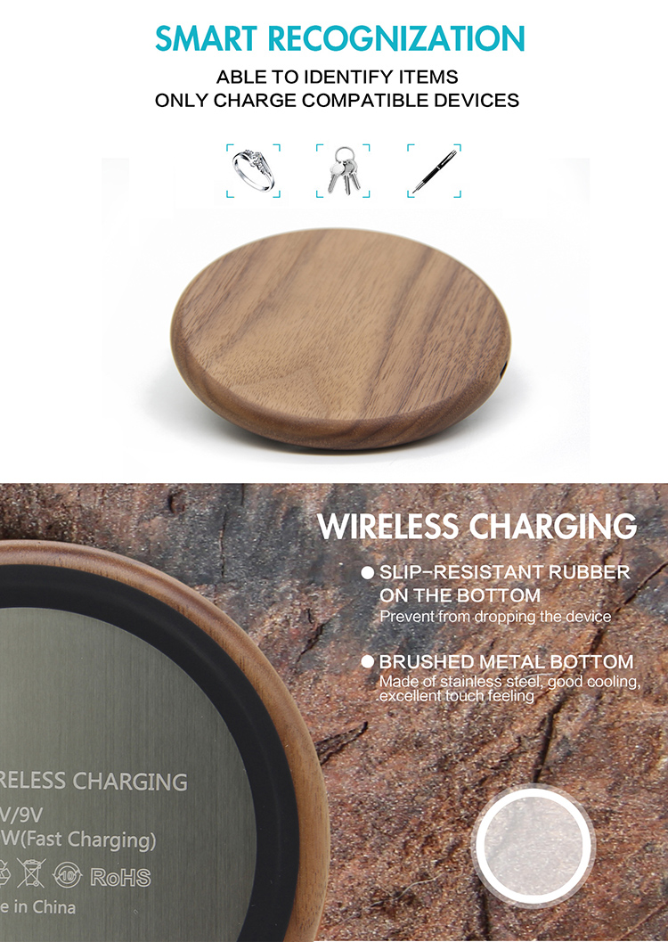 Custom Logo Qi Standard Wooden Wireless Charger For Smartphone