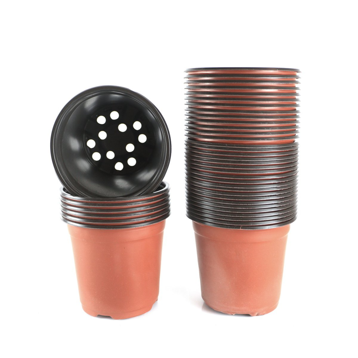 Truedays 6 Inch Plastic Flower Seedlings Nursery Supplies Planter Pot Pots Containers 40 Pack