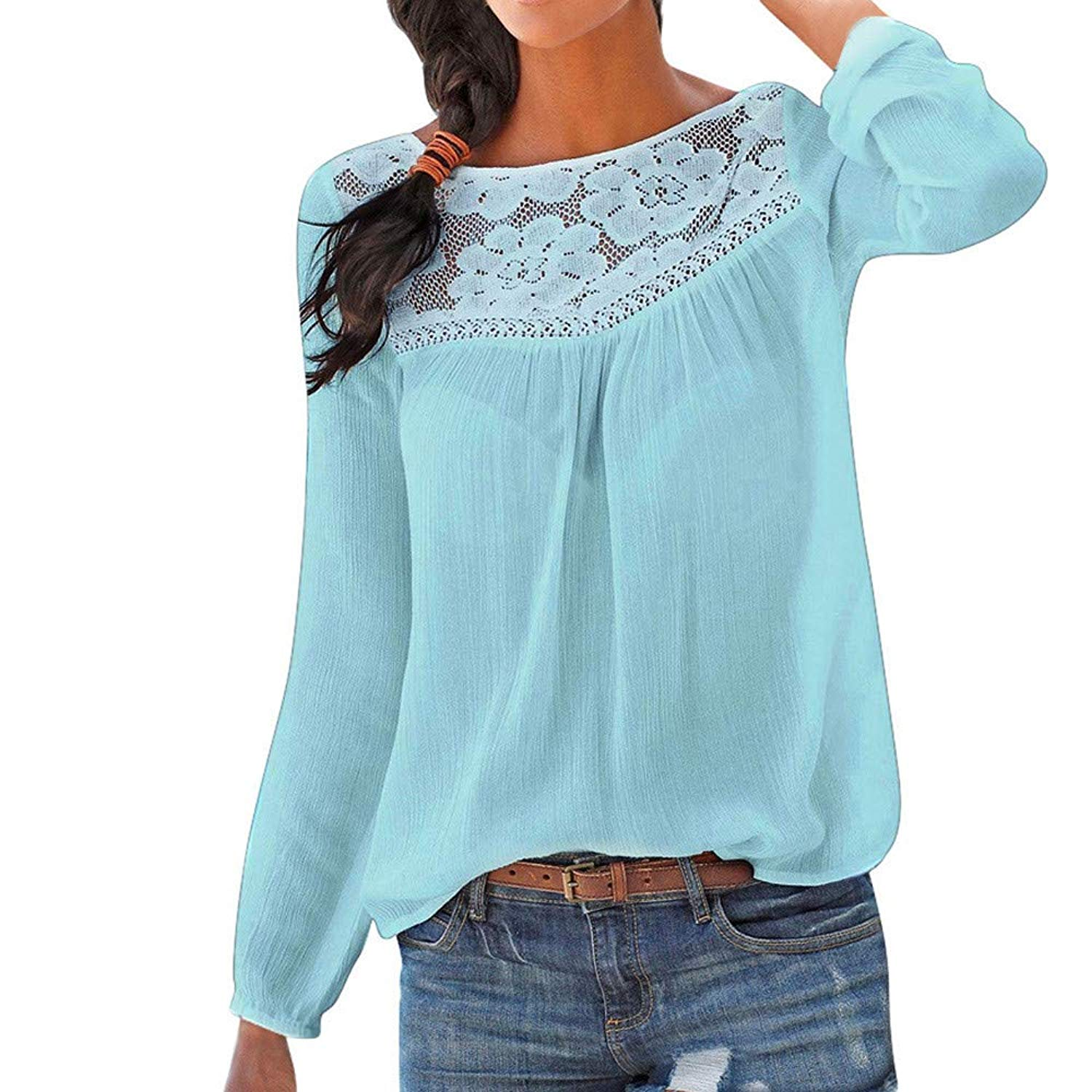 Clearance!Dressin_Women's Casual Long Sleeve Lace Patchwork Tops Blouse