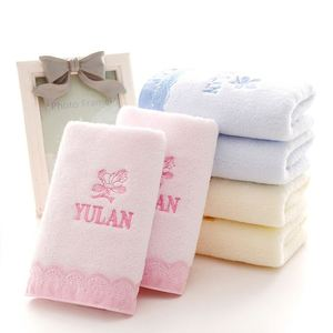 Wholesale Custom Applique Lace Embroidery Cotton Soft Grid Face Towel