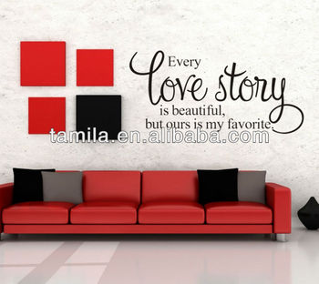 Love story is beautiful home quote wall decals Bedroom removable vinyl wall stickers Art words sayings Vinyl Wall Decals