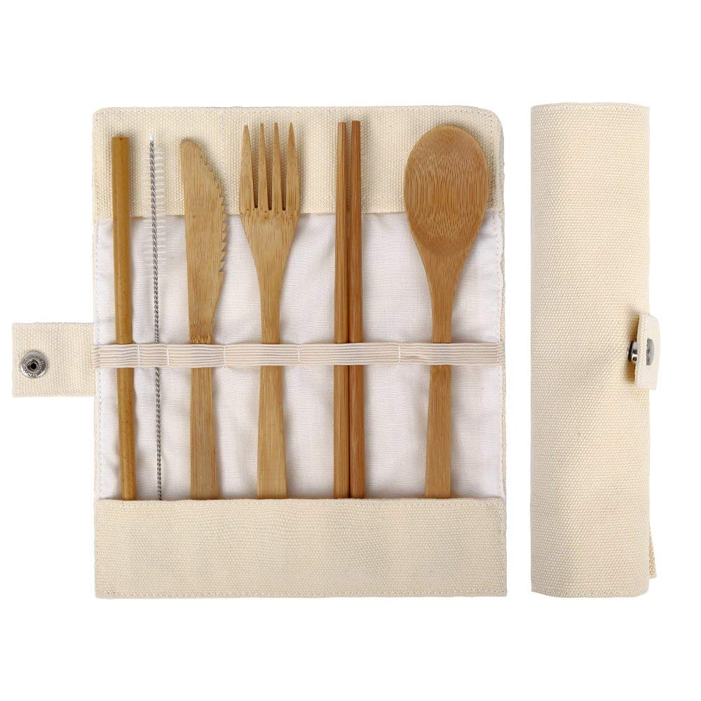Bamboo Utensils | Bamboo Travel Utensils | Eco Friendly Utensils | Camping Utensils Set | Knife, Fork, Spoon, Reusable Straws and Chopsticks | Reusable Cutlery