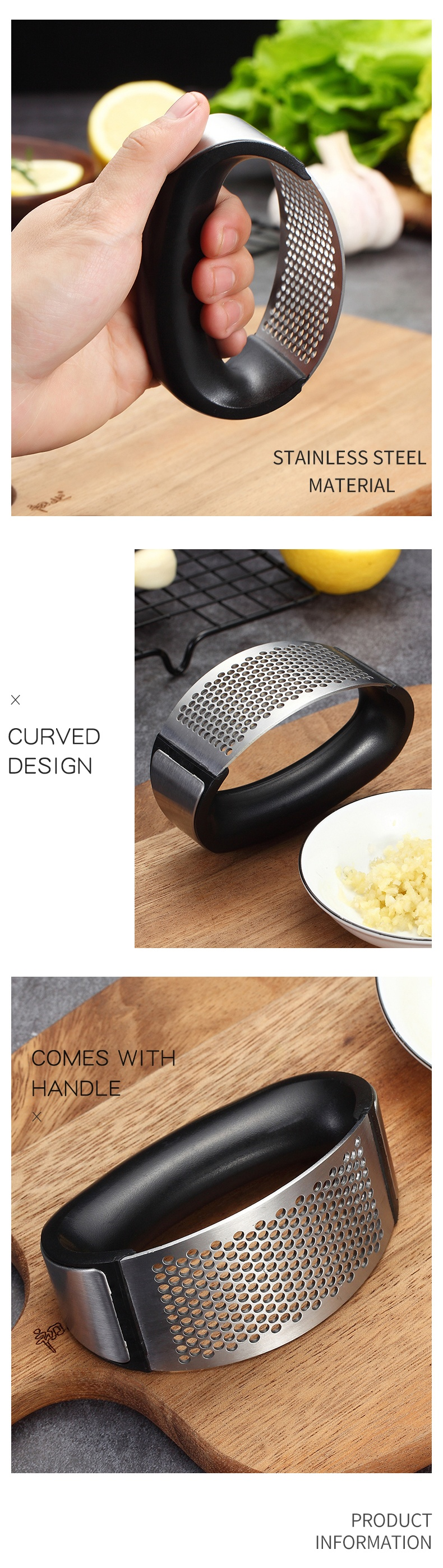 Good Quality Kitchen Accessories Food Grade 304 Stainless Steel Ginger Chopper Garlic Crusher Vegetable Tools Garlic Press