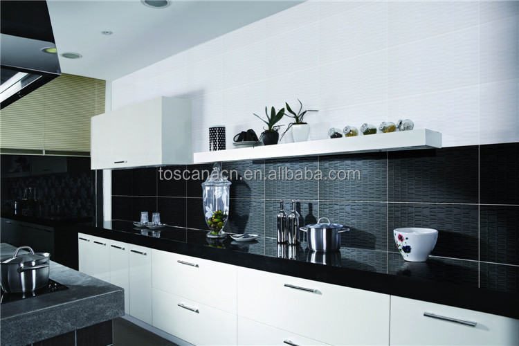 Black Tile Glitter Black And White Kitchen Tile