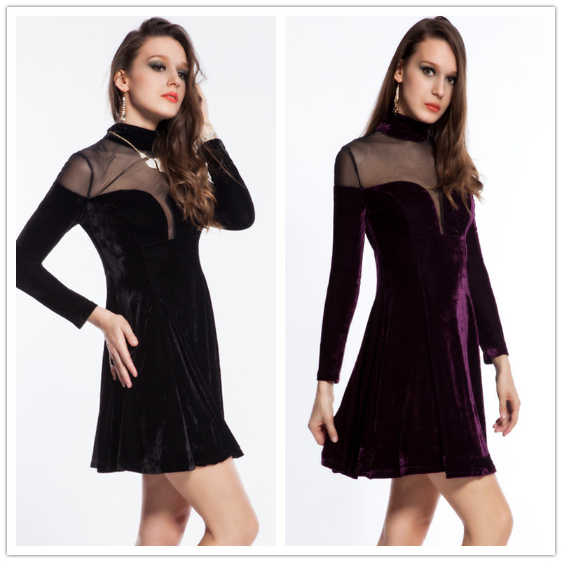 New fashion long sleeve womens dress 2015 free shipping fit and flare solid work dress hot sale mesh o-neck velvet dress R7744