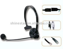 monaural phone headset for call center with RJ11/QD cord/volume control/mute function