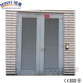 Commerical Louver Design Aluminum Louver Door With Aluminum Slats