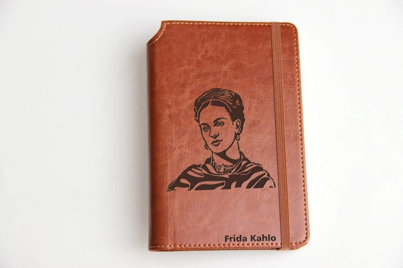 Frida Kahlo illustrated Journal Customizable laser engraved Fully Customizable laser engraved personalized Journal with custom quote custom text leather bound with elastic band with the same color