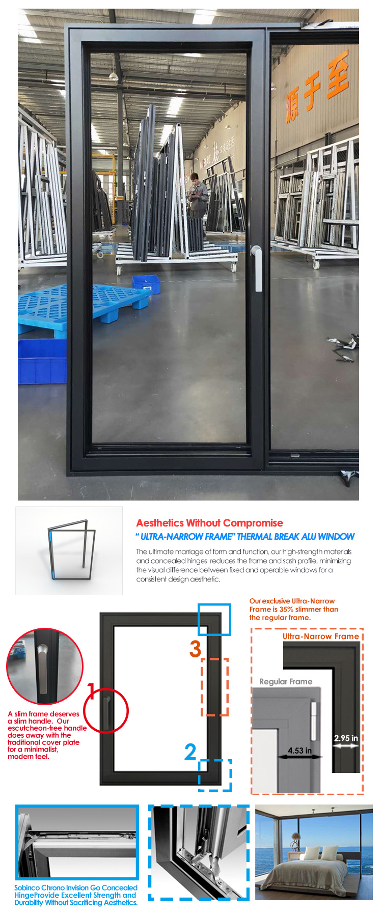 Factory price newest tempered glass window soundproof windows