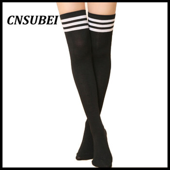 18193c39171 Hot Thigh High Sexy Cotton Socks Women s Striped Over Knee Girl Lady Sock