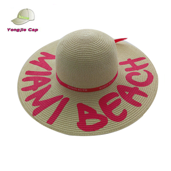 Custom Logo Printed Summer Floppy Beach Hats Flat Brim Woven Paper Braid  straw hats wholesale e3973cc9d44