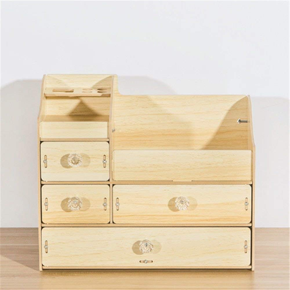 ZQ Multi-drawer,multi-cell,jewelry/cosmetics wooden storage box with handles,stationery/scissors/small items shelf,oak