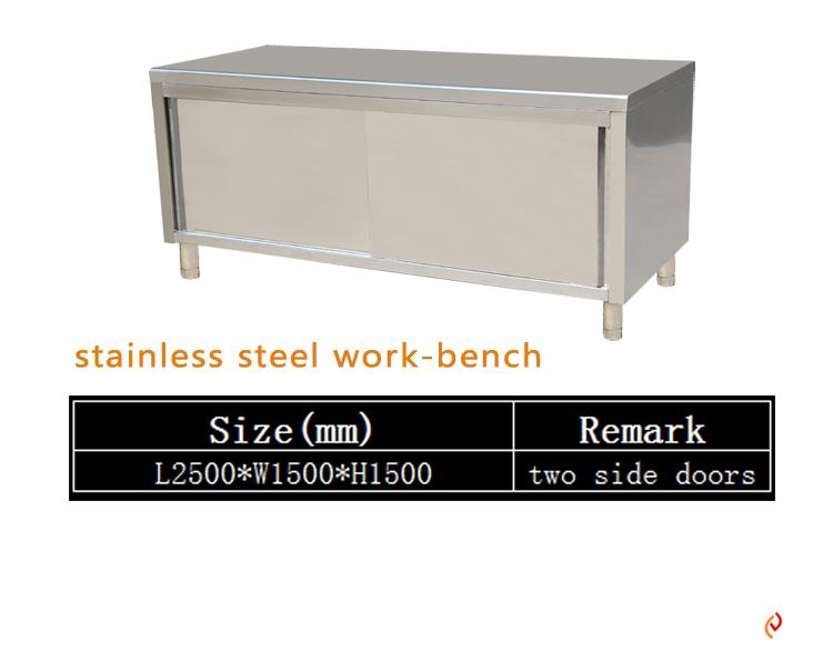 Stainless Steel Single Deck Cabinet Burger Restaurant Equipment Kitchen Cabinets