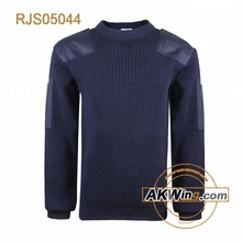 Navy blue ARMY ROUND NECK COMMANDO SWEATER Military Pullover Wool/Acrylic