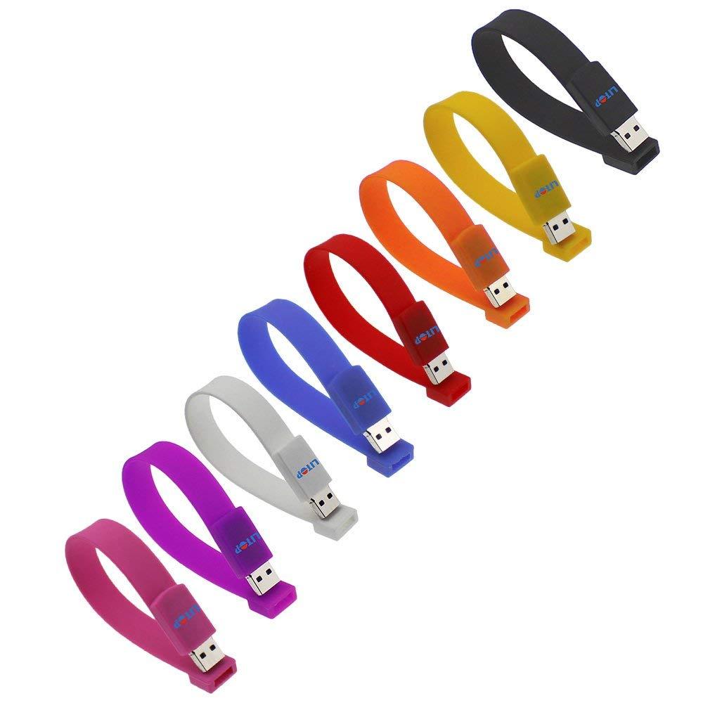 Litop 4GB Pack of 8 Yellow+White+Blue+Purple+Orange+Hot Pink+Red+Black USB 2.0 Flash Drive Memory Disk Wrist Band Design