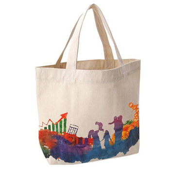 Promotional eco friendly handled natural organic cotton shopping tote bag