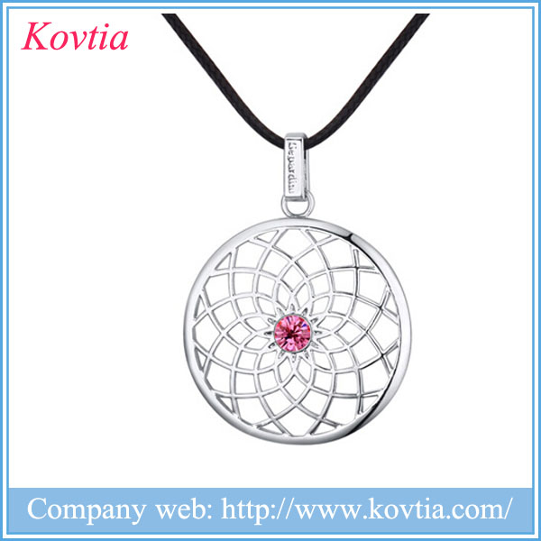alibaba express round pendant necklace leather chain necklace leather jewelry wholesale