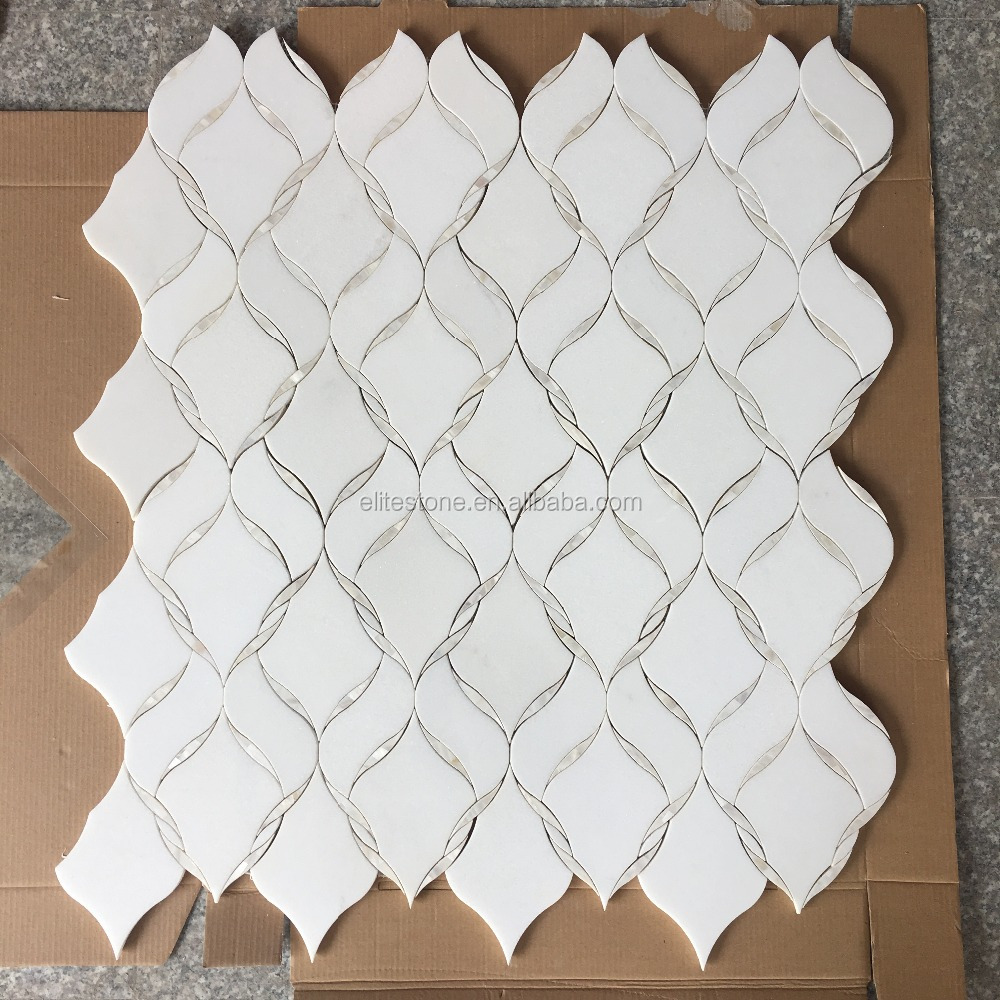 waterjet marble mosaic backsplash luxury tile with mother of pearl
