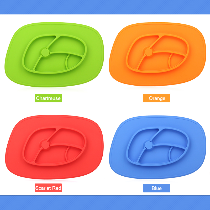 Hot sale colorful 100% food grade silicone baby placemat plate