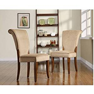 Get Quotations · Chair / Dining Chair, Modern Style Light Brown Velvet  Parsons Side Dining Chair, Set
