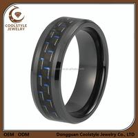 Carbon fiber inlay black tungsten carbide engagement wedding ring