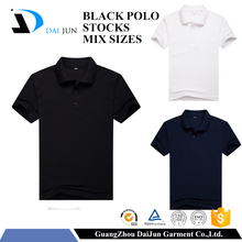 High quality adults short sleeve plain mixed sizes stock custom black 200g 100% pique cotton polo t shirt men