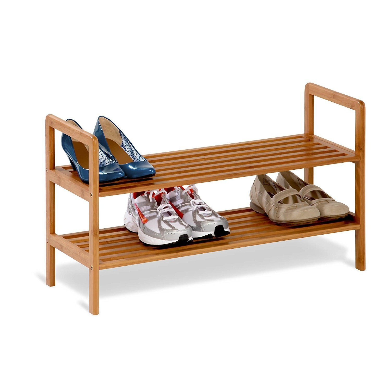 By-Honey-can-do Womens Shoe Rack, Bamboo Two-tiered Mens Entryway Organizer Shoe Rack
