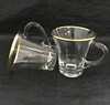 gold rim glassware shot wine glass with handles