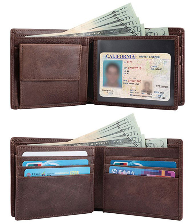RFID Blocking Slim Genuine coin mens wallet with coin slot pocket