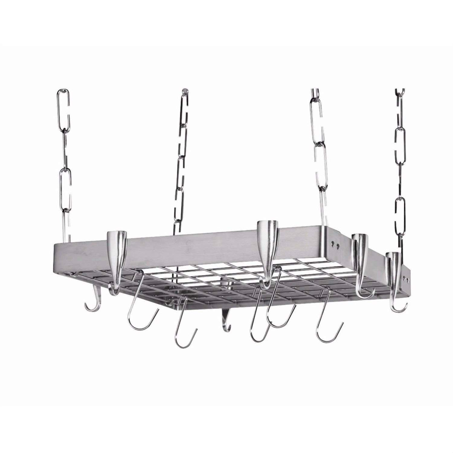 Trustpurchase Square Stainless Steel Ceiling Hanging Pot Rack, Ideal for Use Over Your Kitchen Stove for Rapid Storage and Elegant Display, Its Steel Frame Makes for Sleek Design and A Rugged Product
