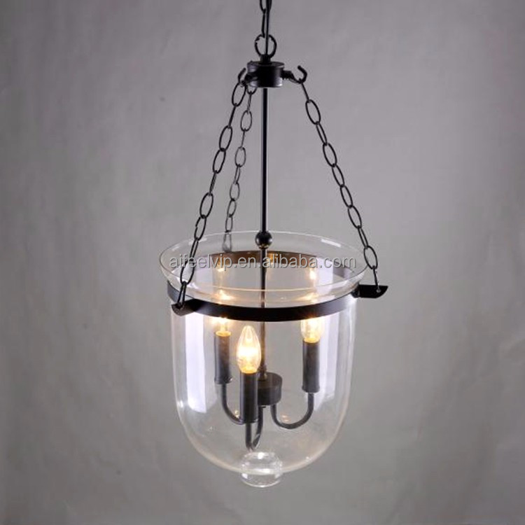 Vintage bucket clear glass shaped pendant lamp for restaurant/coffee shop/bar