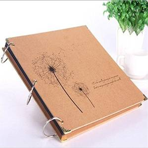 2015 New12 inch Dandelion Pattern Retro Kraft Paper Handmade DIY Photo Album Scrapbook Paper Craft DIY Adhesive Album DIY Gift