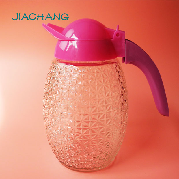 Embossed glass jar with handle lid for water jug